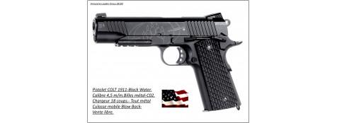 """Pistolet -Colt 1911-CO2-Cal 4.5mm-Semi auto- Billes d'acier-18 coups-Carcasse métal-Culasse mobile Blow Back-""""PROMOTION""""-Ref 22568"""