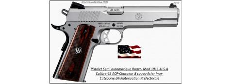 Pistolet-Ruger-SR 1911-Calibre-45 ACP-Semi automatique-Catégorie B1-Promotion-Ref 23122