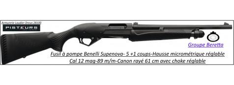 Fusil-pompe-Benelli-super Nova-Cal-12 Magnum -Crosse-synthétique-Répétition-5 coups-Canon rayé-61 cm(RESTE CATEGORIE C1B)-Promotion-Ref 23245