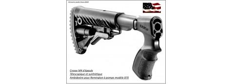 Crosse -épaule-Remington-pompe-870-modèle M4- télescopique-synthétique et ambidextre-Ref 23251 .