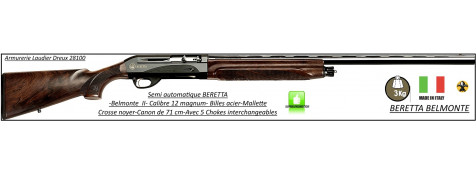 Fusil-semi automatique -Beretta-Bellmonte II- système inertie-3 coups-Crosse noyer -Calibre 12 magnum- 5 Mobilchokes-Canon 71 cm-Mallette-Promotion-Ref 23784-bis