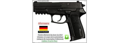 Pistolet-Sig Sauer-SP-2022-Calibre-9 Para-Semi automatique-Catégorie B1-Promotion-Ref 23360