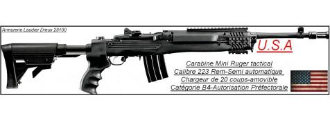Carabine-Ruger-MINI 14-TACTICAL-Calibre 223-5.56-Otan-Semi automatique-Crosse télescopique-Catégorie B4-Promotion-Ref 23595
