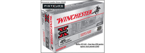 Cartouches Winchester calibre 45 colt COW BOY ogive plomb LEAD-16.20 gr-(250 grains)boite 50-ref 23666