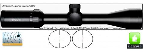 Lunette Hawke Optics Vantage 3x9x40-AO Réticule-Mil Dot lumineux-vert-rouge-Promotion-Ref 23704