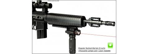 Poignée  Tactical - HAWKE OPTICS-Lampe LED+Laser intégré-Ref 23821-28332