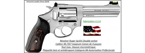 Révolver-Ruger -SP101-inox-stainless-Calibre-38-357 magnum-Catégorie B1-Promotion-Ref 23860