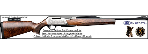 Browning-MK3-Eclipse-flutée-Semi automatique-noyer-grade 3-Calibre 30-06-ou-300 winch mag-ou-9.3x62-bande-battue-Promotion