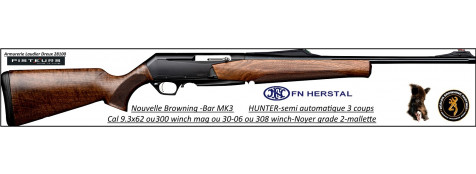 Browning-®MK3-Hunter-Semi automatique-noyer-grade 2-Calibres-30- 06- ou-300-winch-mag-ou-9.3x62-bande-battue-Promotion