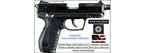 Pistolet-Ruger-SR22PBT-Calibre-22 Lr-Semi automatique-Canon fileté-Chargeur 10 coups-Catégorie B1-Autorisation Préfectorale-Promotion-Ref 24489