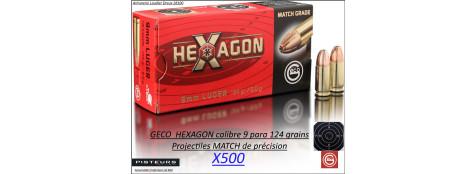 Cartouches 9 para Geco HEXAGON MATCH Par 500 poids 124 grs 8 grammes-Promotion-Ref 24920-bis