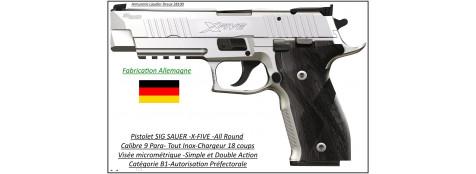 Pistolet-Sig Sauer-P226-X-FIVE-All Round-INOX-Calibre-9 Para-Semi automatique-Catégorie B1-Promotion-Ref 24921