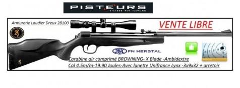 Carabine Air comprimé  Browning X  Blade 2  Calibre 4.5 m/m-Crosse synthétique-19.90 joules-Avec lunette 3x9x32 + arrêtoir- ou sans lunette -Promotions