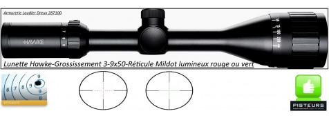 Lunette -Hawke Optics- Vantage-3-9x50-AO-Réticule-Mil Dot-lumineux-vert-rouge-Promotion-Ref 25502