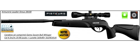 Carabine-Gamo-socom-bull-whisper- air comprimé-Cal 4.5mm -19.90 joules+lunette 3x9x40+silencieux- Promotion-Ref 25534