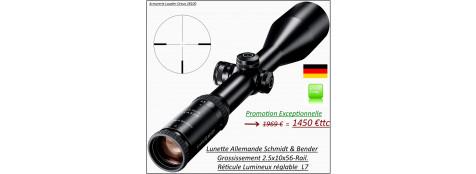 Lunette-SCHMIDT & BENDER-Klassic -Grossissement-2.5x10x56 LMS-Réticule petite  croix lumineuse-Rail standard-Promotion-Ref 25762