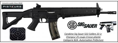 Carabine Sig Sauer modèle 522 semi-automatique calibre 22 Lr 25 coups  crosse pliante-Ref 25991