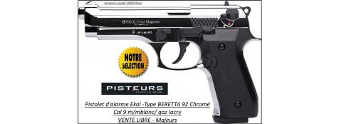 """Pistolet alarme Ekol Semi auto -Firat-magnum-à blanc /gaz-Type Beretta 92- Chromé -Cal. 9 m/m-""""Promotion""""-Ref 26880"""