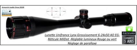Lunette Unifrance  LYNX 6-24x50- A0EG-Réticule Mil Dot 22 E-Lumineux rouge ou vert-Promotion-Ref 26966