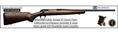 Browning  x Bolt Europe Calibre 308 winch SF flutée Répétition noyet grade 4/5 -Ref 27340