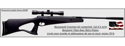 Carabine-air comprimé-Crosman-Benjamin-titan-NP-Calibre 4.5m/m-Crosse à trou synthétique-19.70 joules-+ kit lunette 4x32-Nitro piston-Promotion-Ref 27635