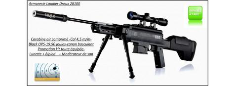 Carabine air comprimé Black OPS Sniper Calibre 4.5m/m Crosse synthétique 19,90 joules +kit lunette-bipied-modérateur -Promotion-Ref 27677