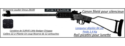 Carabine little Badger Chiappa calibre 22 Lr 1 coup Pliante  survie-Promotion-Ref 27678