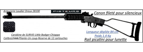 Carabine little Badger Chiappa calibre 17 HMR 1 coup Pliante survie-Promotion-Ref 30035