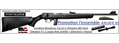 Carabine Mossberg plinkster 802 Calibre 22 Lr-synthétique-répétition +Silencieux+Lunette-4x32 mildot+ housse-Promotion-Ref 35196