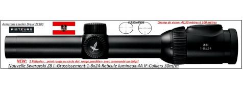 Lunettes Swarovski-Z8I grossissement 0,75-6x20-1-8x24-ou- 1.7x13.3x42P-ou- 2-16x50-P réticules lumineux Point rouge et cercle dot-4A-IF-FLEXCHANGE-ou non-Colliers Diam-30 m/m ou rail SR-Promotions