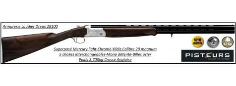 Superposé-Mercury-Light-UNIFRANCE-cal 20 Magnum-extracteur- monodétente- chokes interchangeables-Billes acier-Canons-71-cm-crosse-anglaise-Promotion-Ref 27885-MC-120A