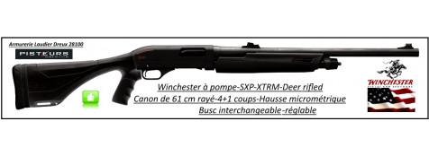 """Fusil-pompe-Winchester-STRM-DEAR-rifled -Cal 12 Magnum-Hausse-micrometrique-Crosse-composite-busc-réglable-Canon rayé-61cm-4+1 coups-""""Promotion""""-Ref 27966"""
