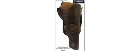 Holster western cuir révolver poudre noire-Ref 27970