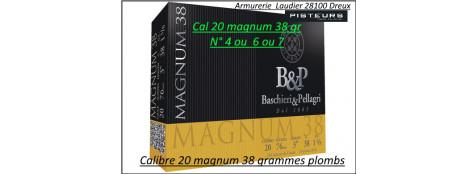 Cartouches BASCHIERI & PELLAGRI Calibre 20/76 Magnum 38 grammes plombs Numéros 4 -6- 7 Haute vitesse Bourre jupe-Boite de 10