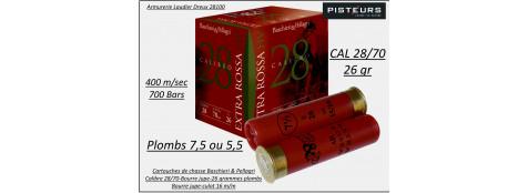 Cartouches-BASCHIERI-&-PELLAGRI-Extra-Rossa-28-HV -Cal 28/70-26-grammes plombs-Numéro 7,5-ou 5,5-Bourre jupe-Boite de 25