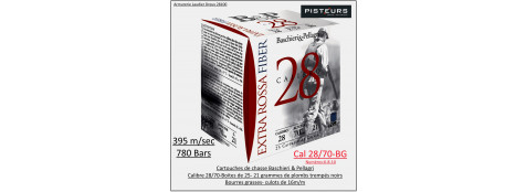 Cartouches-BASCHIERI-&-PELLAGRI-Extra-Rossa-28 Fiber-Cal 28/70-21-grammes plombs-Numéros:6 ou  8 ou 10-Bourres grasses-Boites de 25