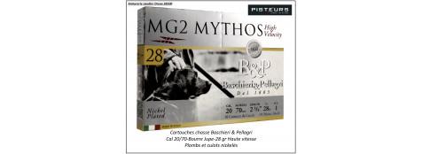 Cartouches-BASCHIERI-&-PELLAGRI-MG2-Mythos-Cal 20/70-28gr-Haute vitesse-Numéros: 4 ou 5 ou 6 ou 7 -Plombs nickelés-Bourre jupe-Culot de 16m/m-Boites de 10