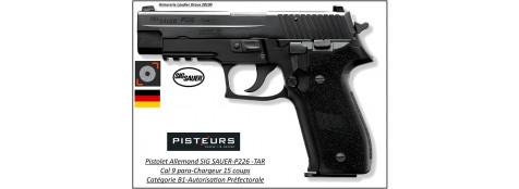 Pistolet-Sig-Sauer-P-226-TAR-Calibre-9 Para-Semi automatique-Catégorie B1-Promotion-Avec-Autorisation-Préfectorale-B1-Ref 28115