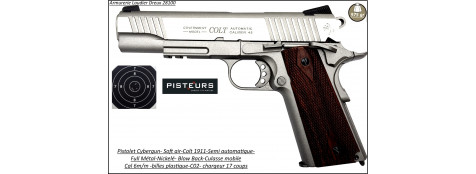 Pistolet colt 1911 Soft air Calibre 6mm C02 Blow-Back-culasse mobile-gun-stainless-Full-métal-1.1 joule-17 coups-Ref 28218