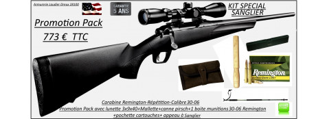 Carabine-Remington-783-Calibre-30-06-Répétition-Pack sanglier-complet-Lunette 3x9x40+ Mallette +1 boite munitions en 30-06 Remington+pochette+canne pirsch+appeau sanglier -Promotion-Ref 28794