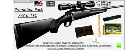 Carabine-Remington-783-Calibre-30-06-Répétition-Pack sanglier-complet-Lunette 3x9x40+ Mallette +1 boite munitions en 30-06 Remington+pochette+canne pirsch+appeau sanglier -Promotion-Ref 28794