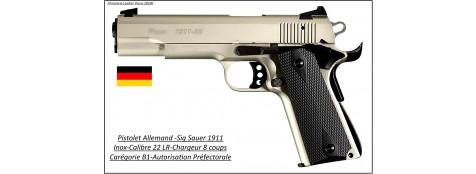 Pistolet-SIG SAUER-Inox-Calibre 22 Lr-Semi automatique-Modèle 1911-Target-Catégorie B1-Promotion-Ref 28803