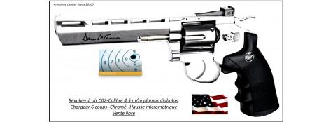 Revolver Dan Wesson ASG CO2 Calibre 4,5 mm-diabolos plombs-couleur inox-Barillet 6 coups- Métallique- Promotion-Ref 29112
