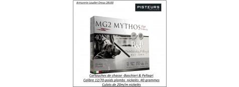 Cartouches-BASCHIERI-&-PELLAGRI-MG2-Mythos-Cal 12/70-40 grammes-Haute vitesse-Numéros -5 ou 6 -plombs-nickelés-Bourre jupe-Culot de 20 m/m-Boites de 10