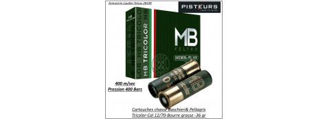 Cartouches- BASCHIERI & PELLAGRI-MB-Tricolor-Cal 12/70-36gr-Numéro 4 ou 5 ou 6-Bourres grasse-Boites de 10