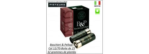 Cartouches-BASCHIERI-&-PELLAGRI-MB-Classic-Cal 12/70-poids-plombs-32gr-Numéros-5 ou 6 ou 7 ou 71/2 ou 8 ou 9--Bourre jupe-Boite de 25-