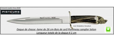 Poignard-Alcaraz-Muela-manche bois-cerf- pommeau-sanglier- laiton- lame fixe 26 cm-acier-molybdène-vanadium-Ref 29288
