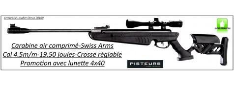 Carabine-air comprimé-Swiss Arms-Calibre 4.5m/m-Crosse ajustable-synthétique-19.50 joules+ kit lunette 4x40-Promotion-Ref 29498