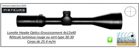 Lunette-Hawke Optics- Vantage-IR -4x12x40- Réticules-30-30- lumineux -rouge ou vert--Promotion-Ref 29745