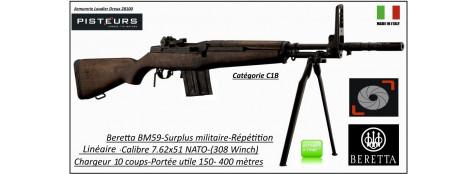Carabine-Beretta-BM59-SPRINGFIELD-répétition-Calibre-7.62x51 NATO-308 Winch-tirs longues-distances-Catégorie-C1B-Ref 29872-33086